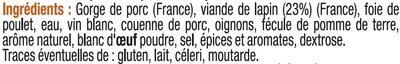 Terrine de lapin - Ingredients