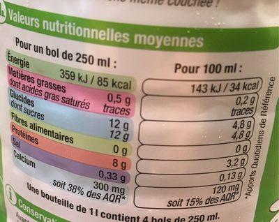 Lait Écrémé U - Nutrition facts - fr