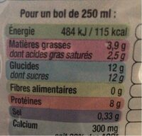 Lait Demi Écrémé - Nutrition facts - fr