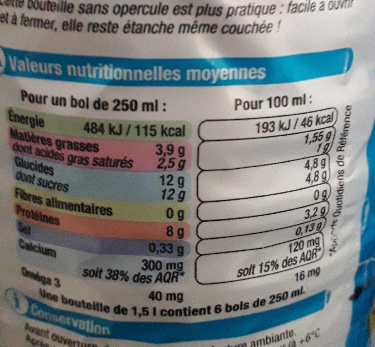 Lait 1/2 écrémé stérilisé UHT bleu blanc coeur - Nutrition facts - fr