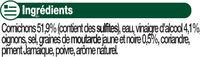 Cornichons très fins pasteurisés au vinaigre - Ingrédients