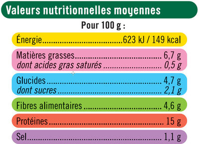 Pavés au soja provençal - Valori nutrizionali - fr