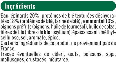 Pavés au blé épinards emmental bon & végatarien - Ingredients