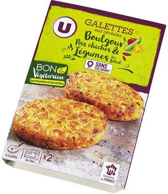Galette boulgour, pois chiche et légumes du soleil, - Produit