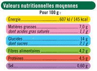 Galette boulgour, pois chiche et légumes du soleil, - Informations nutritionnelles