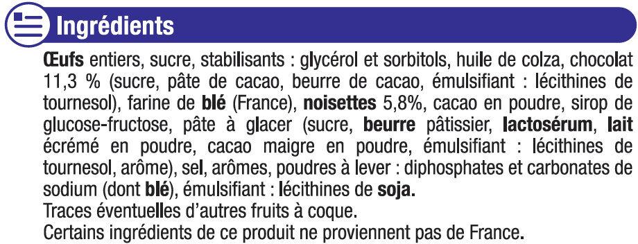 Mini brownie noisette et pépites de chocolat - Ingredients - fr