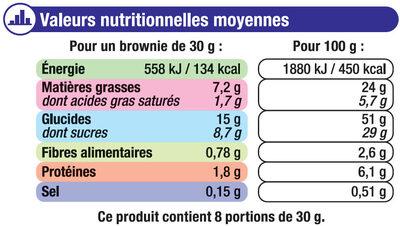 Mini brownie noisette et pépites de chocolat - Nutrition facts - fr
