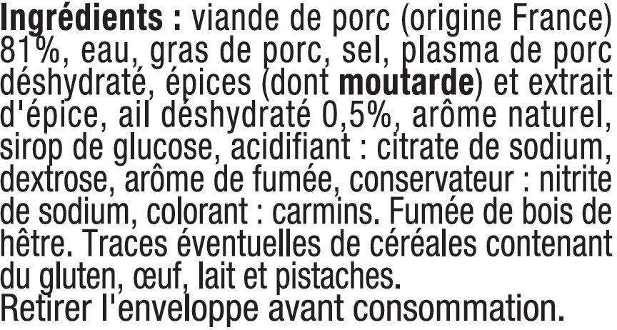 Saucisson à l'ail qualité supérieure fumé - Ingrédients - fr
