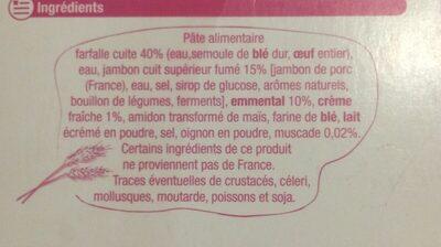Gratin de Farfalles au jambon - Ingredients