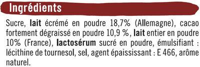 Chocolat - Ingredients - fr