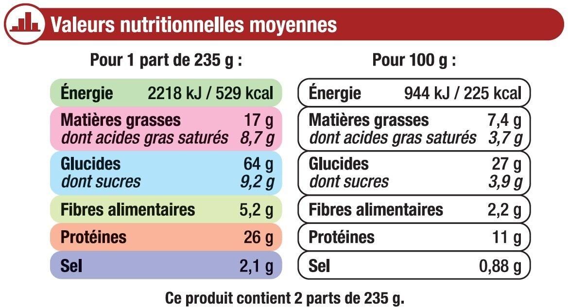 Pizza crousti fromage bolognaise - Informations nutritionnelles - fr