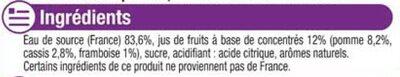 Boisson plate aux fruits pomme, cassis, framboise - Ingrédients