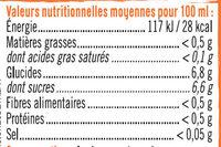 Boisson sans théine pêche abricot - Informations nutritionnelles - fr