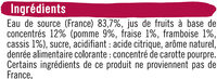 Boisson aux fruits plate grenadine - Ingredients
