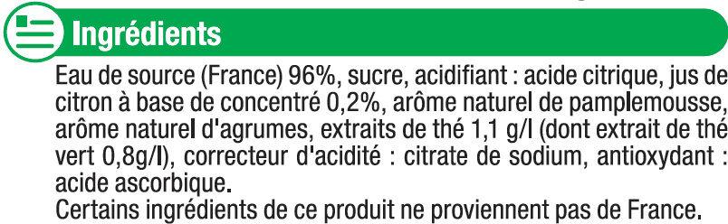 Boisson au thé vert glacé saveur agrumes - Ingrédients
