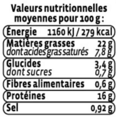 Haché au saumon à la ciboulette - Nutrition facts - fr