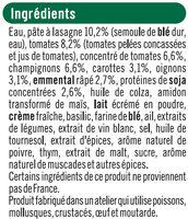 Lasagnes végétariennes aux tomates, champignons et protéines de soja - Ingrédients