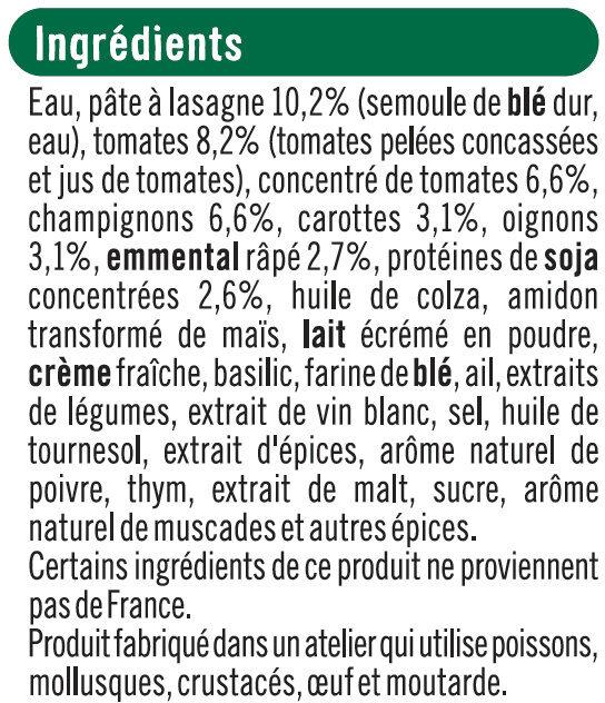 Lasagnes végétariennes aux tomates, champignons et protéines de soja - Ingrediënten
