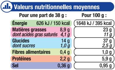 Pâtes à tarte feuilletées - Informations nutritionnelles