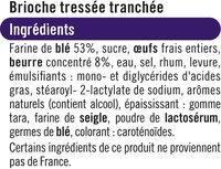 Brioche Tressée tranchée - Ingrédients