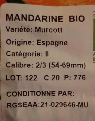 Mandarine Murcott, calibre 2/3 catégorie 2 - Ingrédients - fr