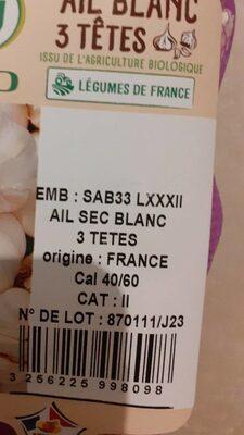 Ail blanc 3 têtes, calibre 40/60 - Valori nutrizionali - fr
