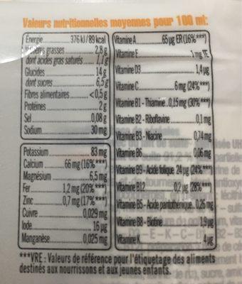 Lait et céréales goût vanille - Informations nutritionnelles