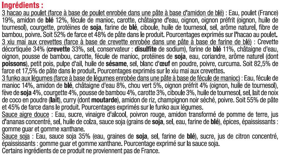 Assortiment vapeurs - Ingredients