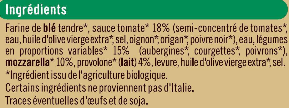 Pizza aux légumes issue de l'agriculture biologique, - Ingrédients