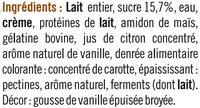 Spécialité laitière sucrée à la vanille, - Ingrédients - fr