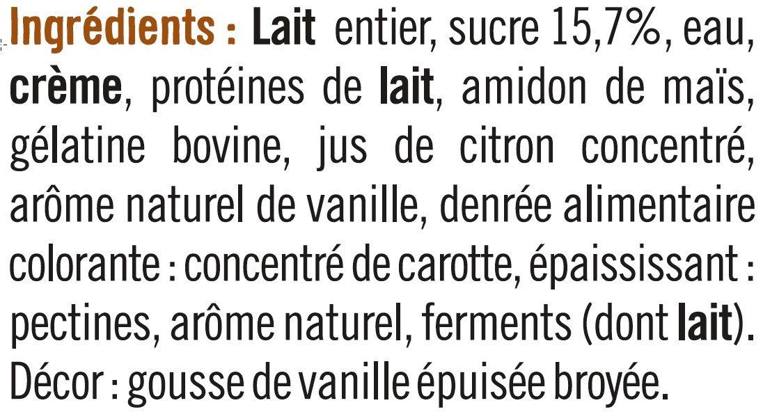 Spécialité laitière sucrée à la vanille, - Ingrédients