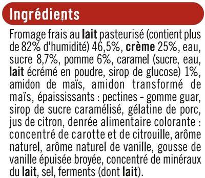 Fromage frais à la vanille sous mousse de crème fouettée sur lit de pommes caramélisées - Ingrediënten - fr