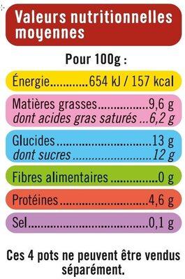 Fromage frais à la vanille sous mousse de crème fouettée sur lit de pommes caramélisées - Voedingswaarden - fr