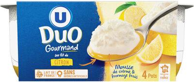 Fromage frais nature sous mousse de crème fouettée sur lit de citron - Product