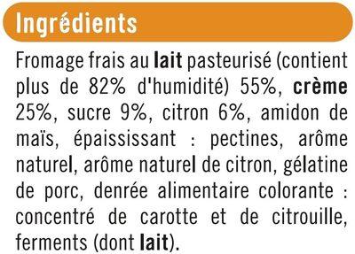 Fromage frais nature sous mousse de crème fouettée sur lit de citron - Ingrediënten - fr