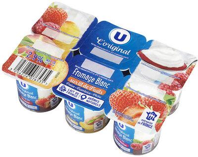Fromage frais sur lit de fruits,fraise/framboise/pêche - Produit