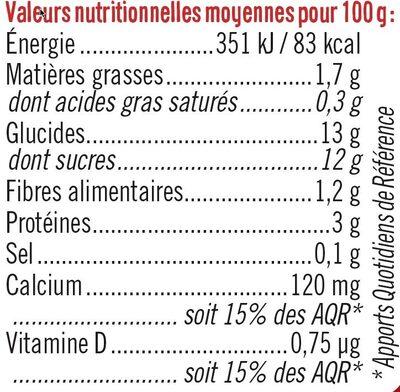 Soja sur Lit de Fraise - Nutrition facts