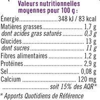 Soja sur lit de mûre - Nutrition facts