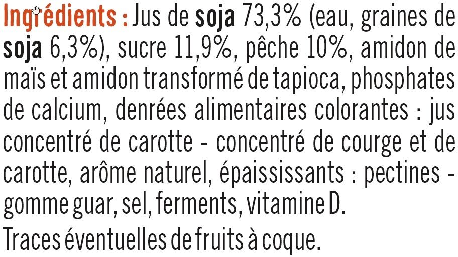 Soja sur Lit de Pêche - Ingredients - fr