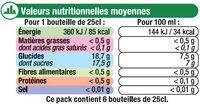 Panaché au jus de citron 1° - Nutrition facts - fr