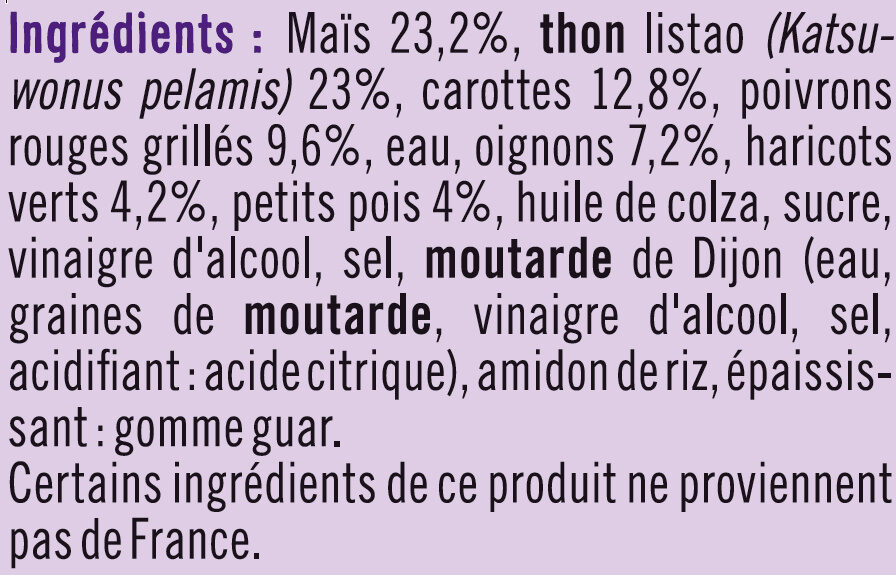 Salade Américaine au thon pêché à la ligne - Ingrediënten - fr