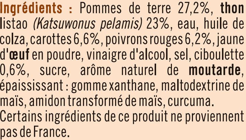 Salade thon piémontaise pêché à la ligne - Ingrediënten - fr