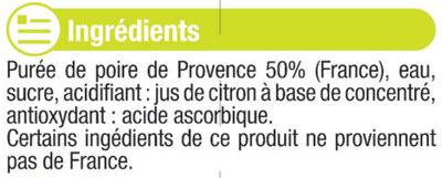 """Jus de poire de Provence """"fruits de chez nous"""" - Ingredients"""