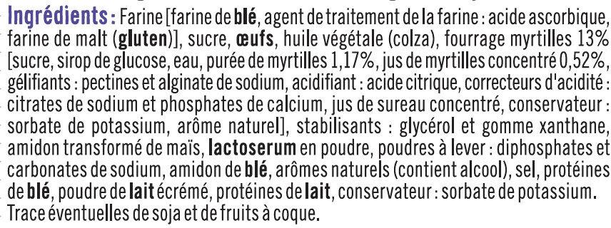 Muffins fourrés myrtille - Ingrédients - fr