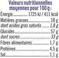 Muffins fourrés myrtille - Informations nutritionnelles