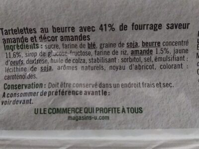 Mini tartelette pur beurre fourrage saveur amande - Ingredients - fr