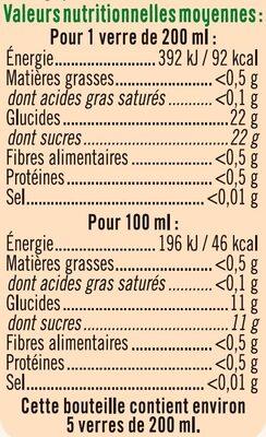 Pur jus orange clementine raisin blanc - Informations nutritionnelles