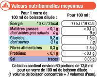 Boisson concentré pêche zéro sucres avec édulcorants - Nutrition facts