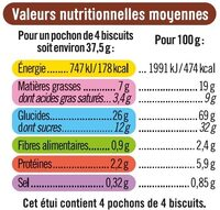 Sablés nappés chocolat au lait sans gluten - Informations nutritionnelles