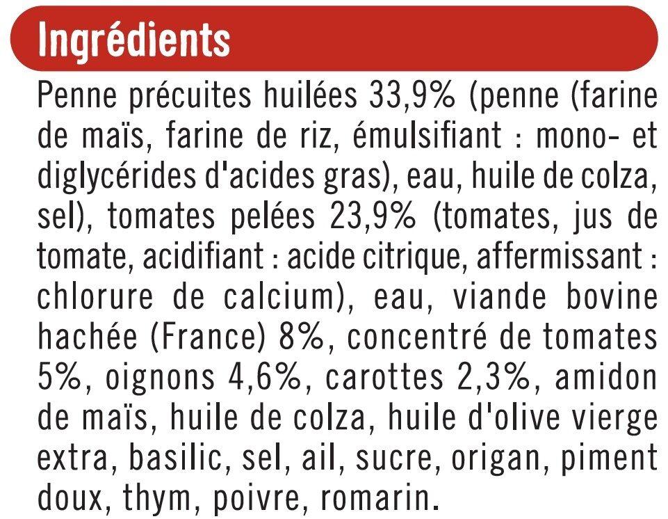 Pennes sauce bolognaise sans gluten - Ingrédients - fr